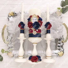 Load image into Gallery viewer, Navy Blue, Burgundy, Gold, Ivory Wedding Candles And Holders