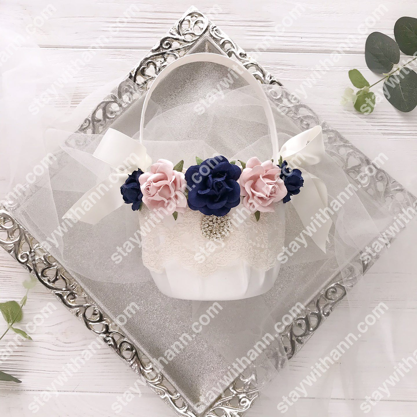 Navy Blue, Dusty Rose And White Wedding Flower Girl Basket