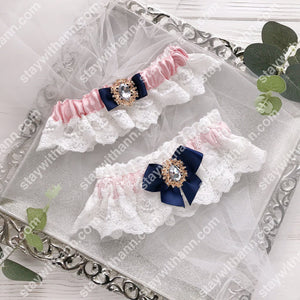 Navy Blue, Dusty Rose And White Wedding Garter