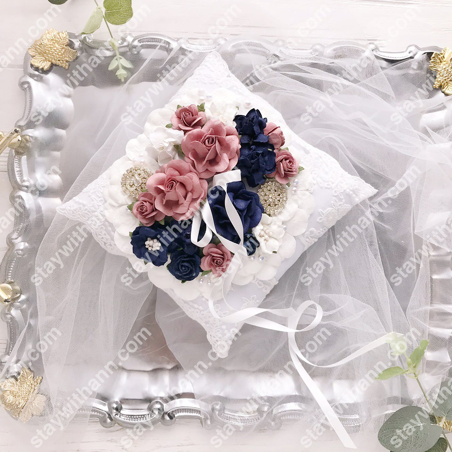 Navy Blue, Dusty Rose And White Wedding Ring Pillow