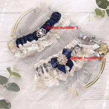 Load image into Gallery viewer, Navy Blue Ivory Wedding Garter