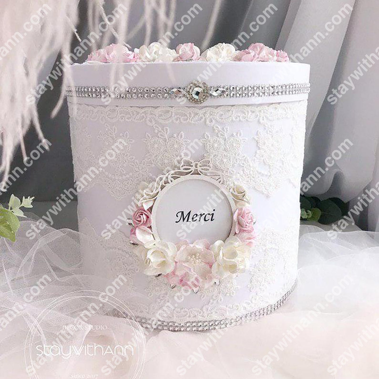 White Pink Silver Personalized Wedding Card Box