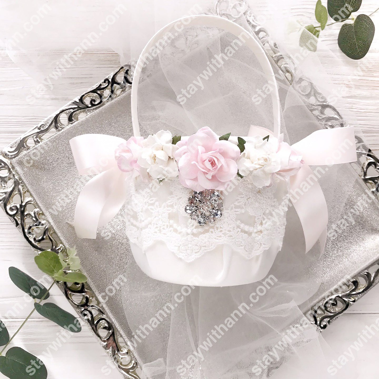 White Pink Silver Wedding Flower Girl Basket