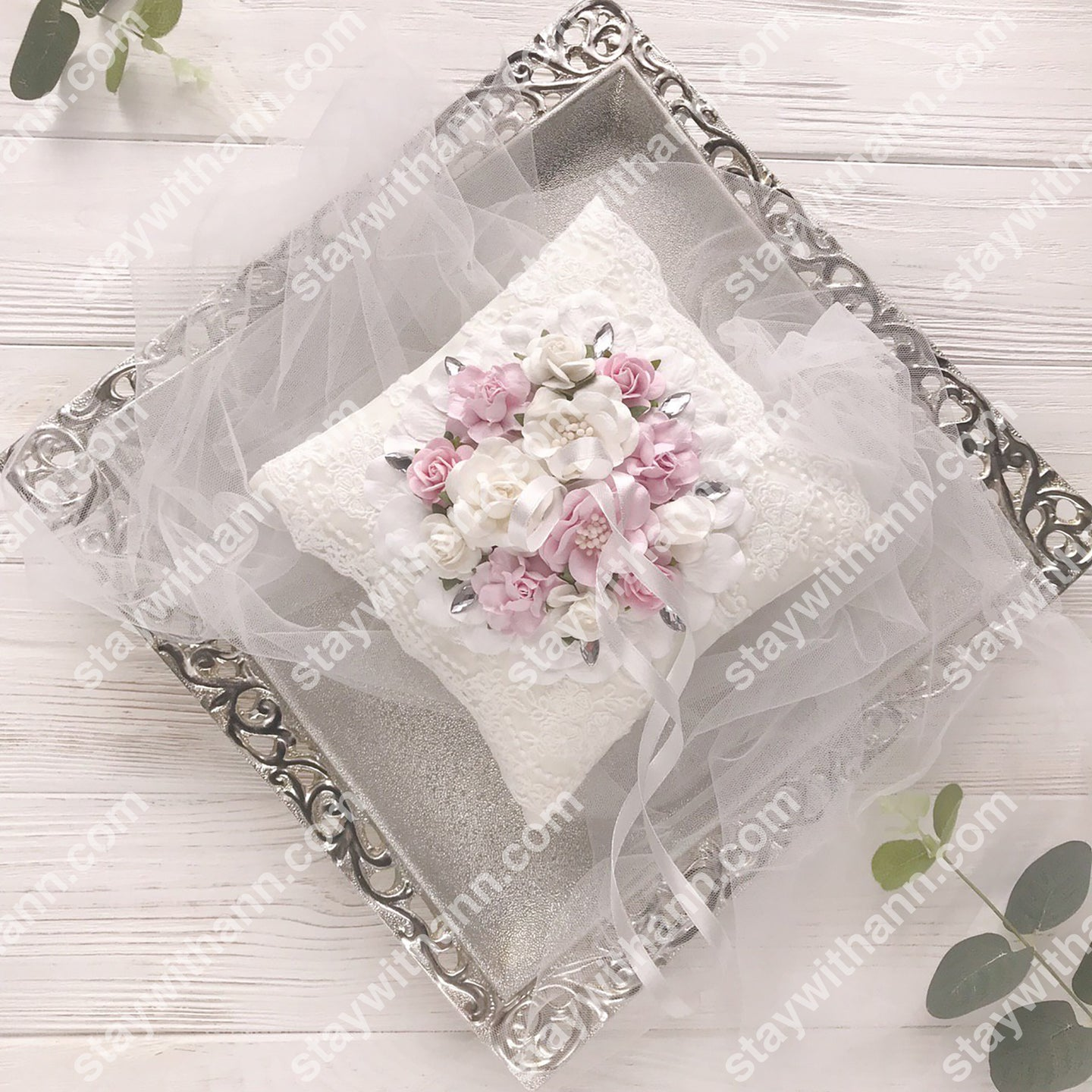 White Pink Silver Wedding Ring Pillow