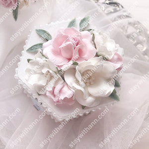 White Pink Silver Wedding Wooden Ring Box