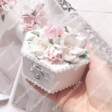 Charger l'image dans la galerie, White Pink Silver Wedding Wooden Ring Box