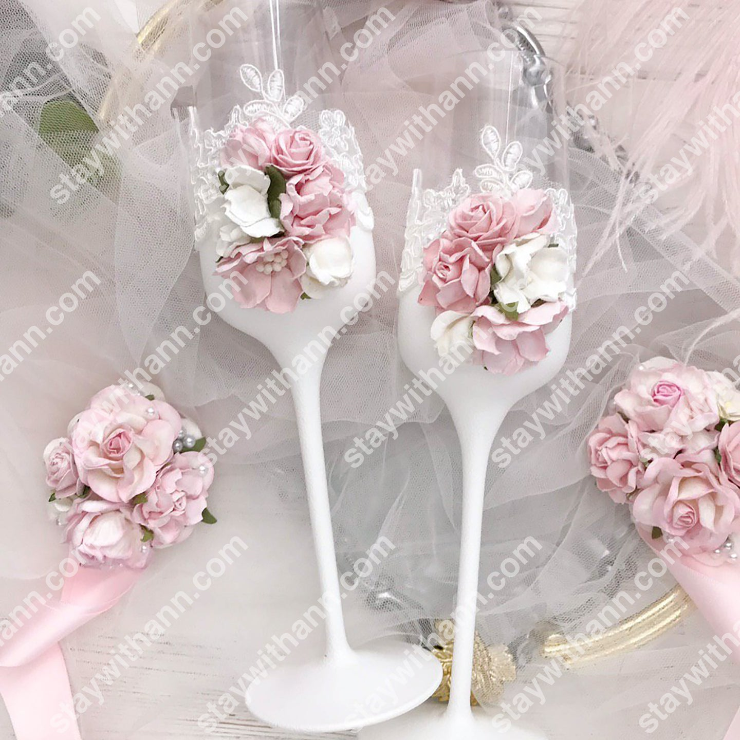 White Pink Wedding Glasses And Cake Serving Set With Flowers