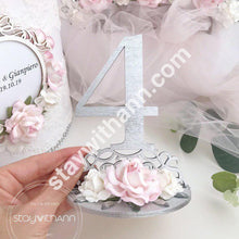Load image into Gallery viewer, Table Numbers, Wedding Silver and Blush Pink Wood Decor, Elegant Table Decor, Event Accessories