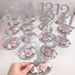 Table Numbers, Wedding Silver and Blush Pink Wood Decor, Elegant Table Decor, Event Accessories