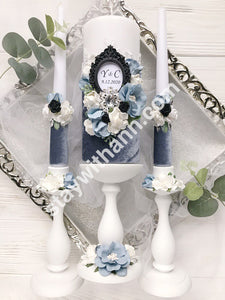 Personalized Wedding Candles And Holders With Dusty Blue Flowers and Dusty Grey Velvet