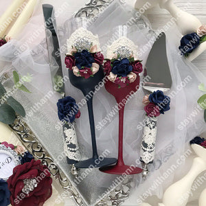 Burgundy and Navy Blue Wedding Glasses And Cake Serving Set With Flowers