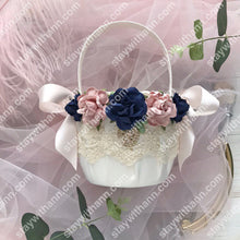 Load image into Gallery viewer, Wedding Flower Girl Basket Dusty Rose and Navy Blue