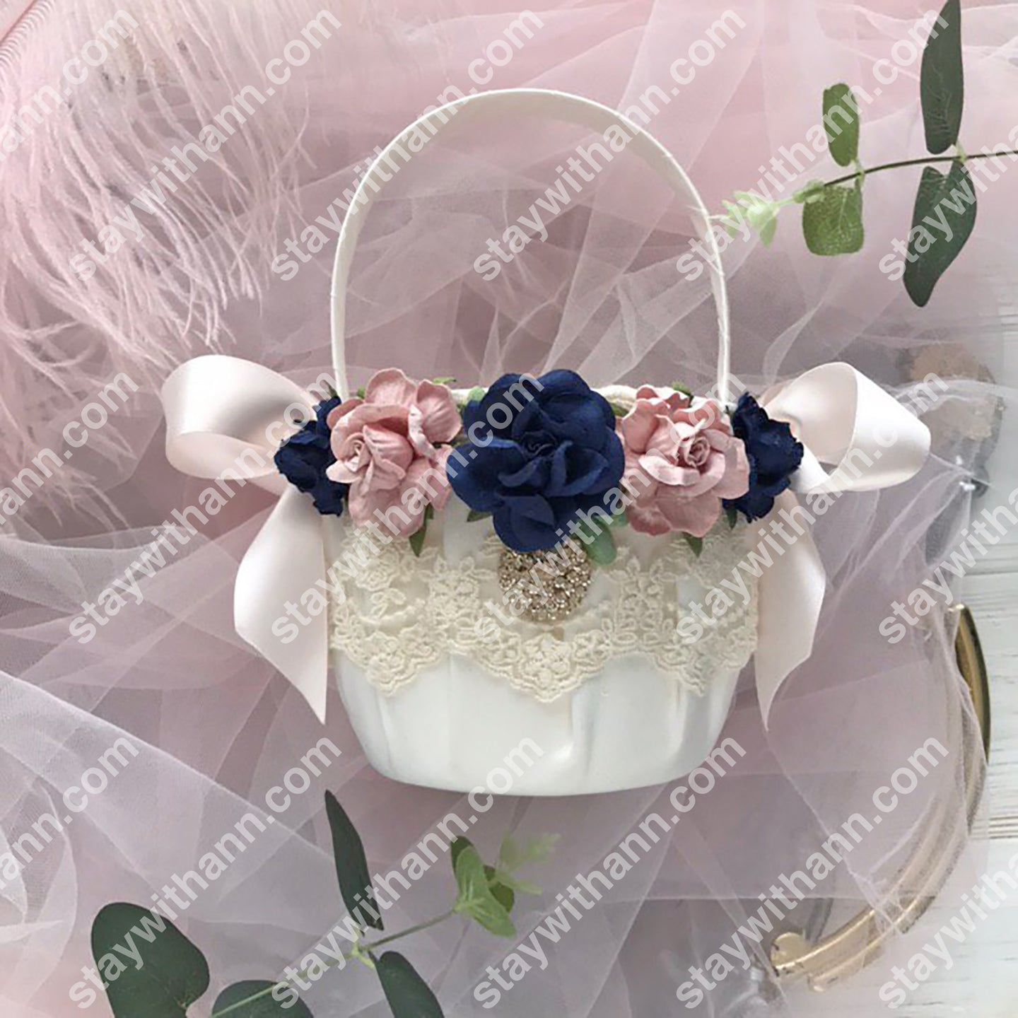 Wedding Flower Girl Basket Dusty Rose and Navy Blue