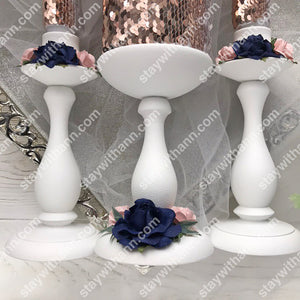 Personalized Dusty Rose and Navy Blue Wedding Candles And Holders