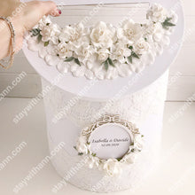 Load image into Gallery viewer, White Personalized Wedding Card Box With Flowers