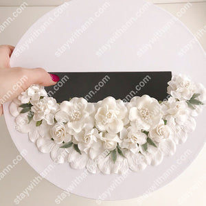 White Personalized Wedding Card Box With Flowers