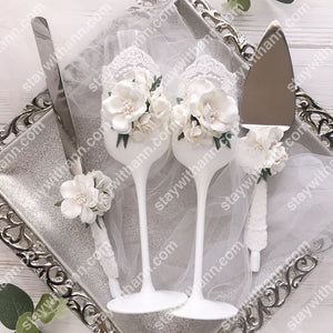 White Wedding Glasses And Cake Serving Set With Flowers