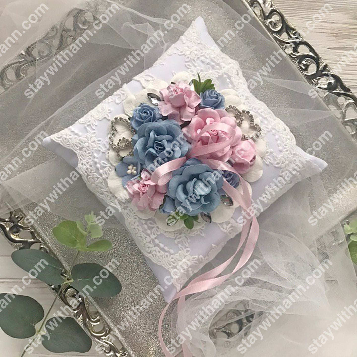 Wedding Ring Pillow Dusty Blue and Pink