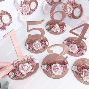 Wedding Rose Gold Table Numbers