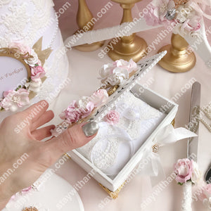 Wedding Ring Box With Pink, Ivory Flowers, Gold Frame and Leaves