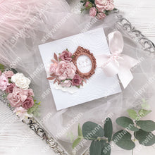 Load image into Gallery viewer, Wedding Invitation With Dusty Rose Flowers And Rose Gold Frame