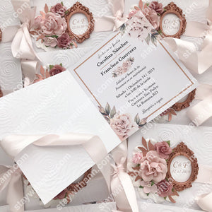 Wedding Invitation With Dusty Rose Flowers And Rose Gold Frame
