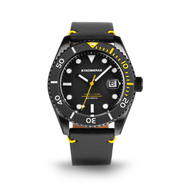 black and yellow dive watch