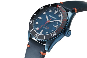 Blue and red dive watch