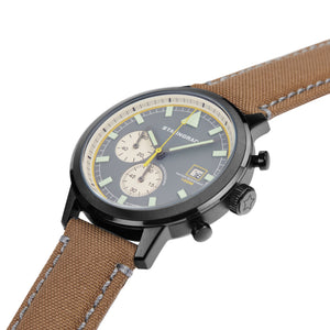 green dial chronograph watch with cordura strap