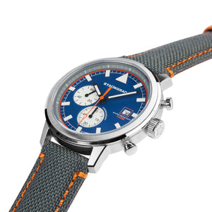 Blue dial chronograph watch with cordura strap