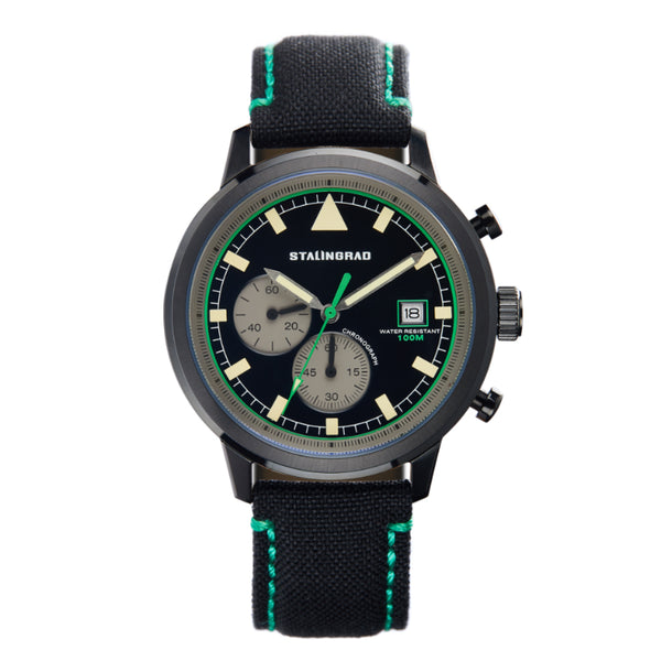 black and green dial chronograph watch with cordura strap
