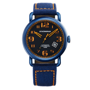 Blue and black outdoor watch