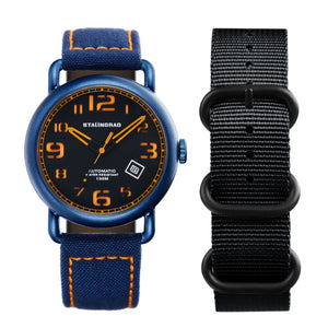 Black and orange outdoor watch