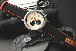 Chronograph watch with black cordura strap