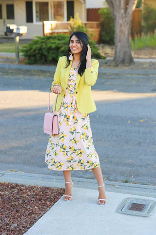 The Olivia Lemon Print Dress styled by Palav Desai for All in the Detail Online Fashion Boutique