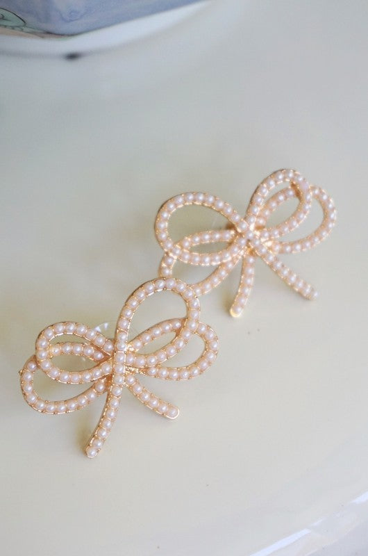 ANTOINETTE PEARL BOW EARRINGS