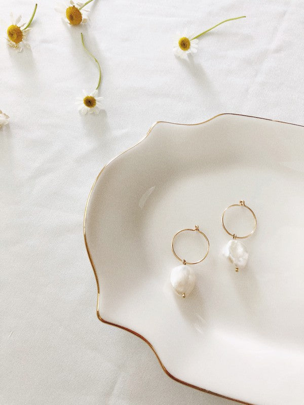 EMMA PEARL SMALL HOOP EARRINGS