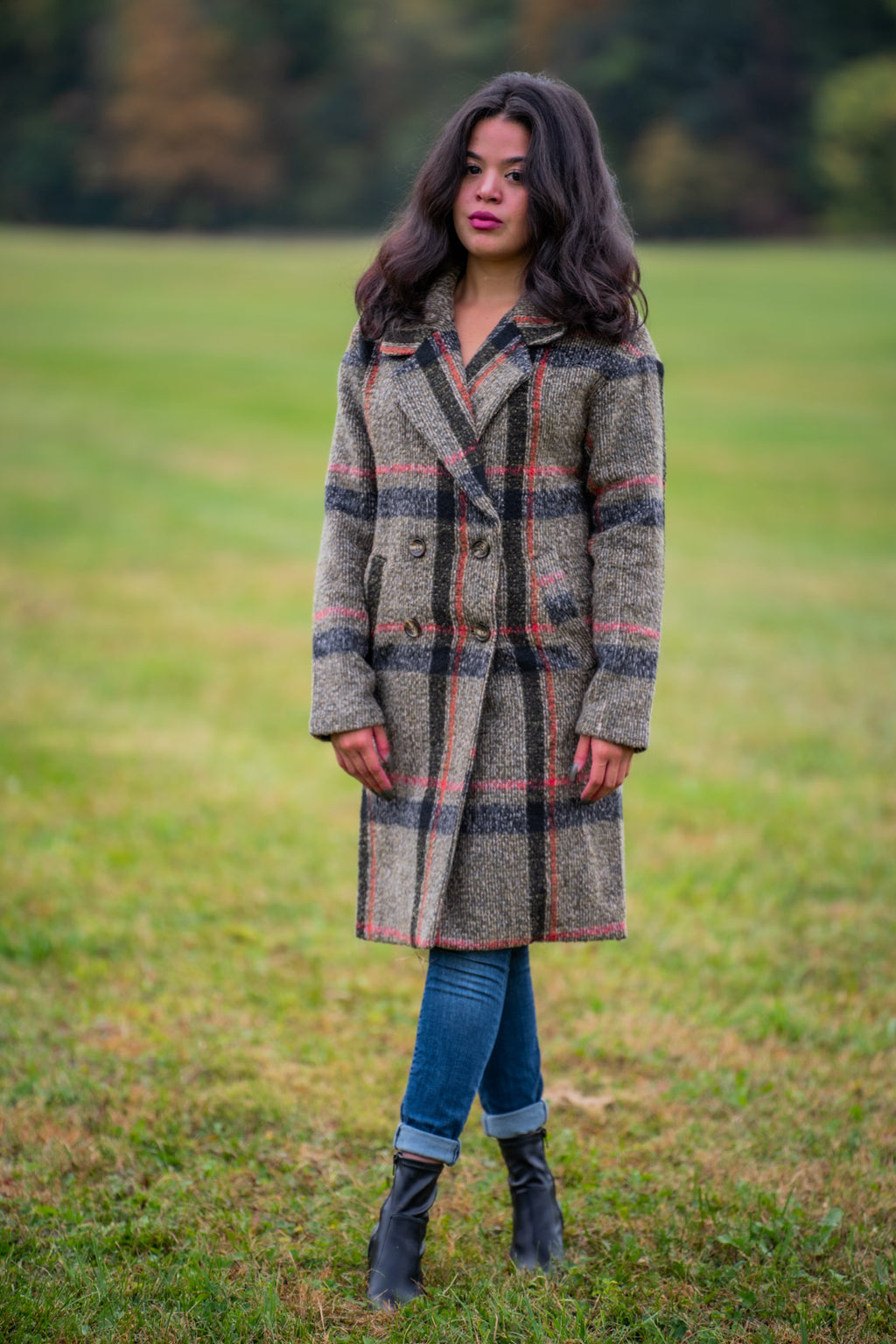 ELEANOR PLAID LONG COAT