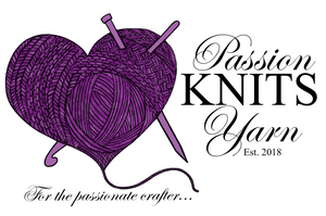 Purple heart with knit stitches, yarn ball, crochet hook and knitting needle.