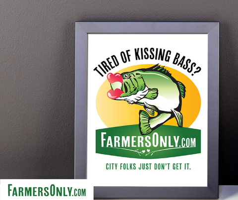 Kissing Bass Framed Poster