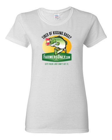 Tired of Kissing Bass Full Color- Ladies T-Shirt