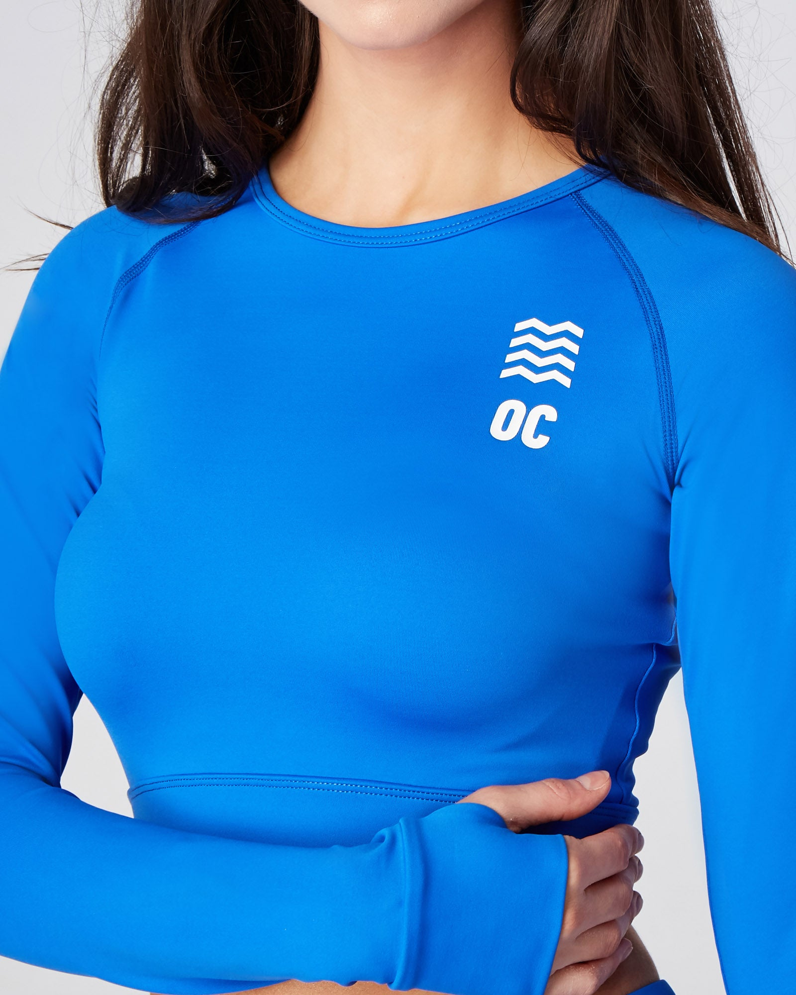 OC Eco Long Sleeve Blue Cropped Top