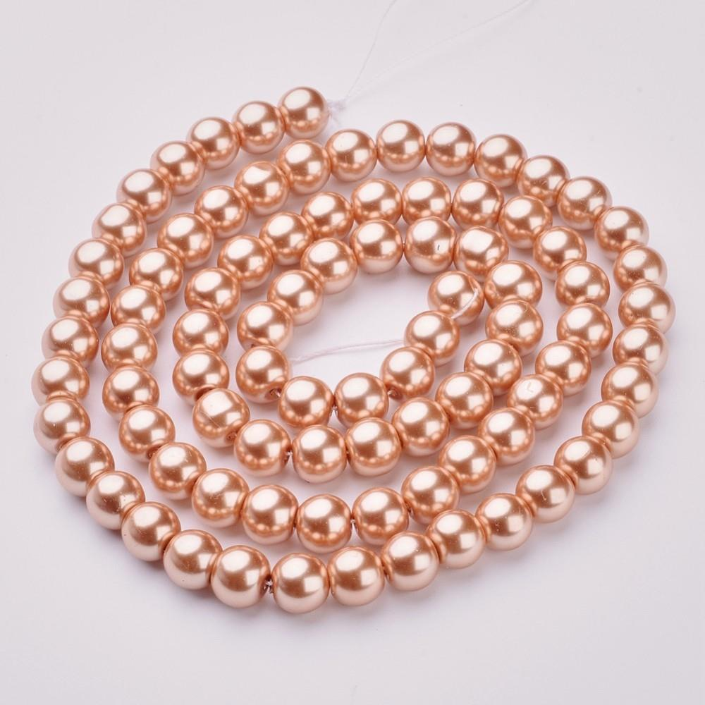 "10mm Beige Glass Pearl Beads 32"" Strand"