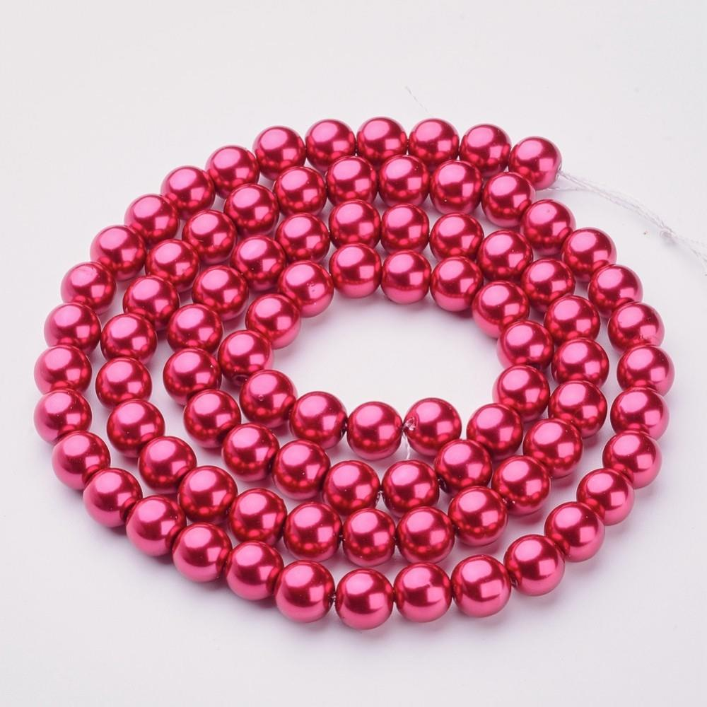 "10mm Deep Pink Glass Pearl Beads 32"" Strand"