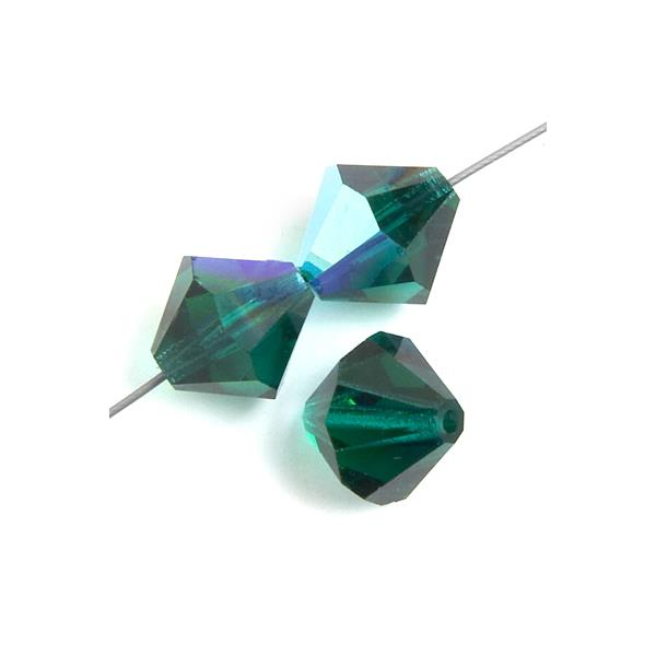 4mm Emerald AB Preciosa Bicone Each