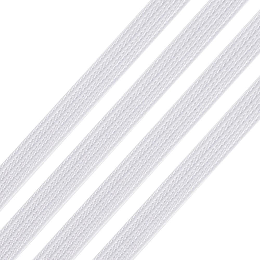 8mm Flat White Elastic - Price Per Yard