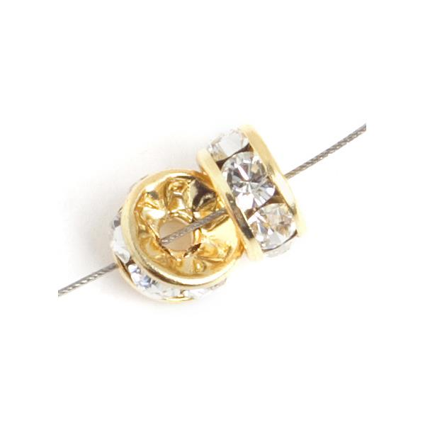 6mm Swarovski Rondelle Crystal / Gold