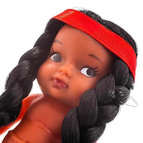 "3 1/2"" Native Doll with Braided Hair & Red Band"