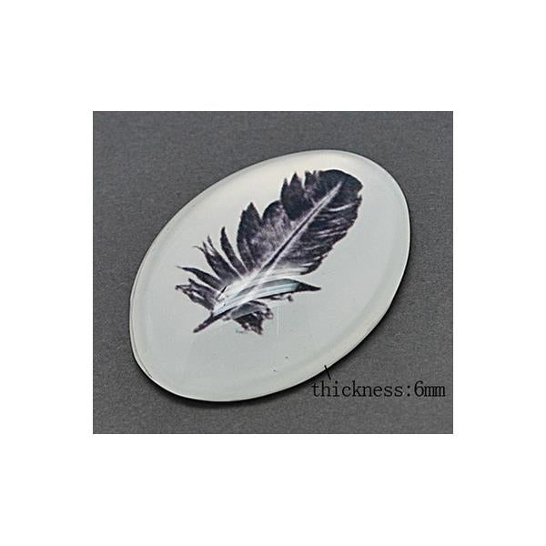 13x18mm Oval Feather Glass Cabochon 2/pk