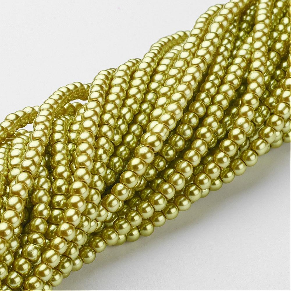 "8mm Pale Olive Glass Pearl Beads 32"" Strand"